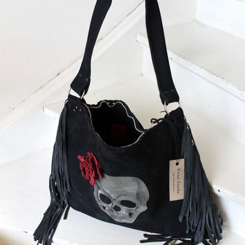 Black oversized leather hobo with fringes fringe big  tote with skull & rose suede dark  halloween artisan handmade gothic goth steampunk