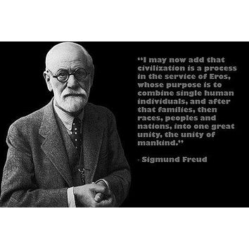 famous psychoanalyst SIGMUND FREUD photo quote poster UNITY MANKIND 24X36