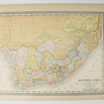 Old South Africa Map 1881 Rand McNally Map South Africa, Vacation Gift, Vintage African Decor, Antique Map Cape Colony, Natal Africa