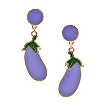 Gold Plated Fun Lavender Eggplant Earrings