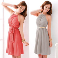 Elegant Halter Neck Sleeveless Solid Color Chiffon Pleated Dress for Women = 1843011332