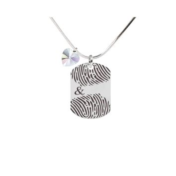 Inspirational Tag Necklace In AB Made With Crystals From Swarovski  - FINGERPRINT