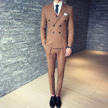 2017 autumn and winter mix match classic double breasted male suit Men Dinner Party Prom Suits Groom Tuxedos Groomsmen Wedding