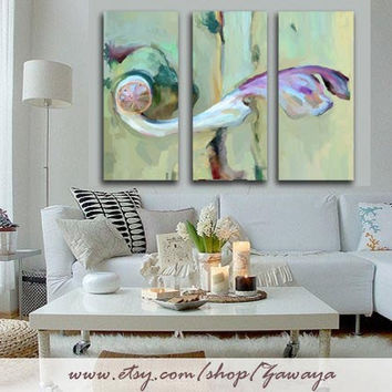 3 piece shaby chic Home decor oil painting canvas print interior design wall art, ready hang three panel Artwork light teal pink bown blue