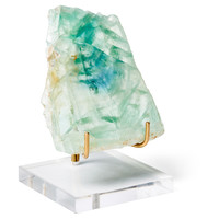Green Fluorite Slice on Brass Stand, Acrylic / Lucite, Rocks, Crystals, Minerals & Petrified Wood