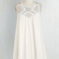 Mid-length Sleeveless Tent In Time with the Beat Dress in White