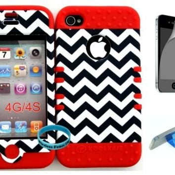 Bumper Case for Apple iphone 4 4G 4S Dark Blue Chevron Waves Pattern Hard Plastic Snap on over Red Silicone Gel(Wireless fones Wristband,Screenprotector,and Media Display Kickstand included)
