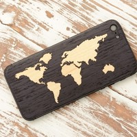 Ebony World Map Inlay - iPhone 5/5s Wood Skin