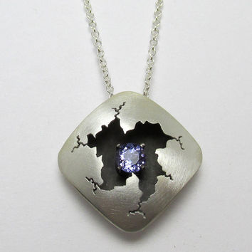 Tanzanite Pendant Sterling Silver Square Cracked Necklace 0.50 carats December Birthstone