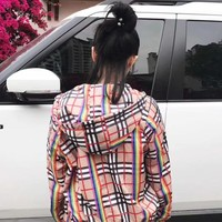 """Burberry"" Women Casual Fashion Temperament Multicolor Rainbow Stripe Tartan Sun Protection Clothing Long Sleeve Cardigan Hooded Coat"