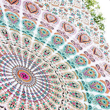 HANDICRAFTOFPINKCITY White Peacock Mandala Tapestry Twin Bedspread Bohemian Bedding Hippie Wall Dcor tapestry