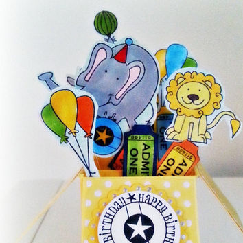 3d Kids Box Card. Kids Birthday Card. Ready to Ship.Circus theme. Lions, Seals, Elephants. Balloons. Happy Birthday Message