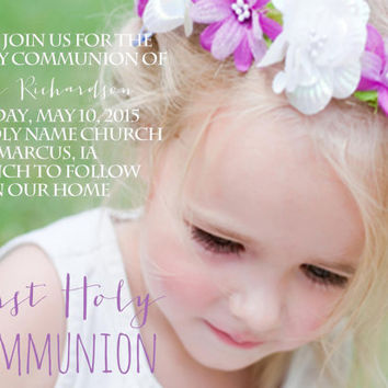 Holy First Communion Invitation, Confirmation Invite, Girls Photo Invite, Baptism Celebration Cards Announcments,