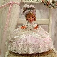 Vintage pillow doll CINDERELLA Princess pink satin shabby chic decorative pillow cushion Doll rhinestones decor