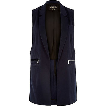 River Island Womens Navy blue sleeveless jacket