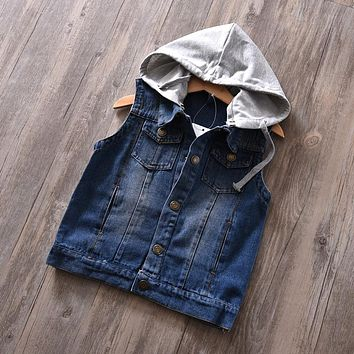 Toddler Retro Ripped Denim Hooded Jacket Vest Little Boys Jeans Jacket Outwear 2017 Teenage Kids Children Cotton Coat