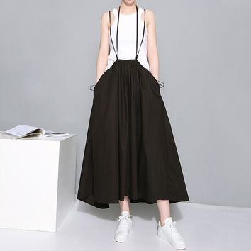 Summertime Pleated Skirt With Suspenders