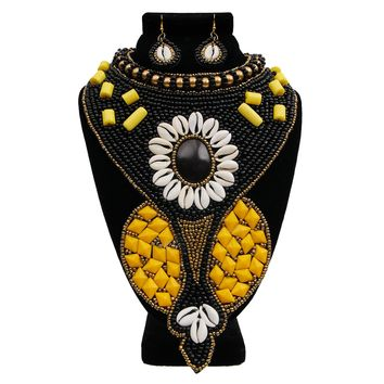 Black and Yellow Bead and Shell Long Collar Bib Necklace Set