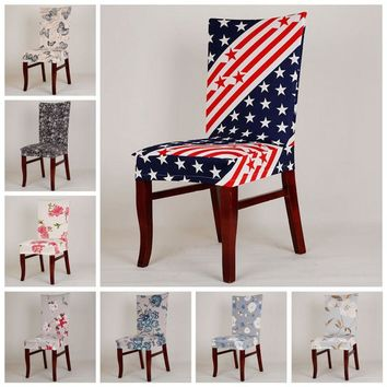 1 Pcs Universal Stretch Printing Chair Covers Washable For Home Dining Restaurant Weddings Banquet Hotel Chair Cover Decor