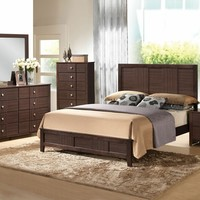 5 pc Racie collection dark merlot finish wood queen size platform bedroom set