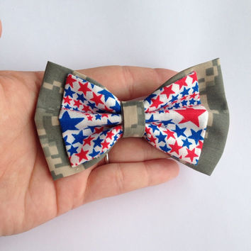 ACU Military Camouflage and Red White and Blue Stars Fabric Hair Bow on French Barrette Clip - 4 Inch Wide