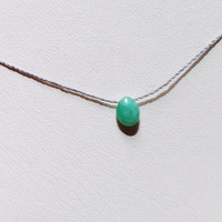 Genuine Natural Emerald Briolette Droplet Minimalist Cord Necklace, Natural Smooth Green Emerald Tiny Teardrop,Simple Raw Gemstone Wabi Sabi