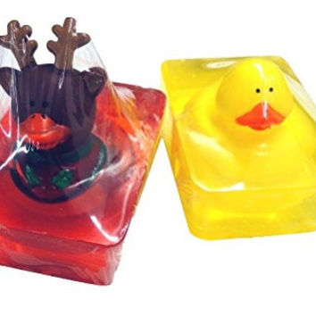 Bundle 2 Items, 2 Bars of Glycerin Soap with Toy Ducks, 1 Classic Duck, 1 Christmas or Winter Theme (Reindeer Duck)