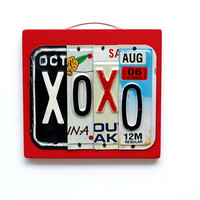 XOXO - OOAK License Plate Art - Valentines Day Gift, Fathers Day, Mothers Day, Wedding, Engagement, photo session