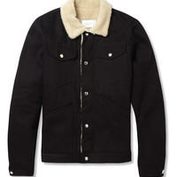 Sandro Shearling-Effect Trimmed Denim Bomber Jacket | MR PORTER