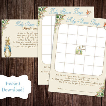 Bingo Baby Shower Game, Printable Peter Rabbit Baby Shower Game, Classic Peter Rabbit