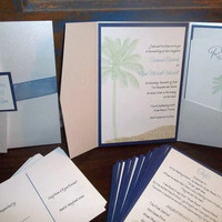 Destination Miami Pocketfold Wedding Invitation Set of 75 Beach wedding Shimmer sand invitation destination wedding palm tree invitation