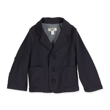 Stretch-Knit Three-Button Blazer, Indigo, Size 6-24 Months, Size: