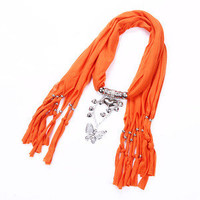 Peach Hearts&butterfly purity tassels pendant necklace soft unisex scarf