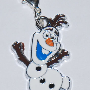Disney Frozen Olaf Enamel Clip Charm, zipper pull, backpack, cell phone, purse clip, bracelet, necklace or scrapbooking.