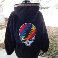 Pullover Upcycled Hoodie, Recycled Hoodie, Grateful Dead Hoodie,  Womens Size Small,  Recycled hoodie, Upcycled Hoodie, Festival Clothes