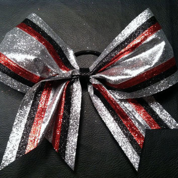 Red silver and black 3 inch cheerleader cheer bow by 2girls2Tus
