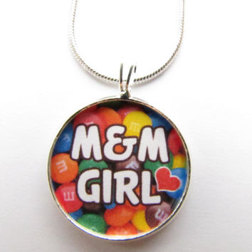 M&M GIRL necklace-candy jewelry, candy necklace, little girl, Chocolate lover,candy lover,grandaughter
