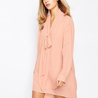 Lost | Lost Ink Layered Tie Neck Dress at ASOS
