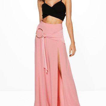 Aura O Ring Thigh Split Maxi Skirt | Boohoo
