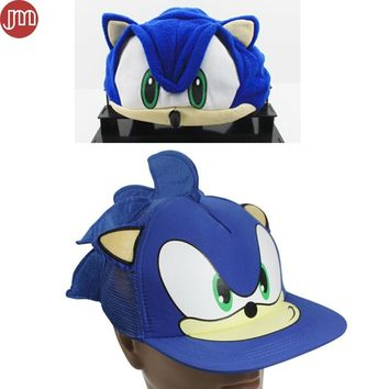 OHMETOY 2pcs Sonic Hat The Hedgehog Fleece Plush Cosplay Cap Baseball Anime Blue for Adult Teenager Birthday Gift