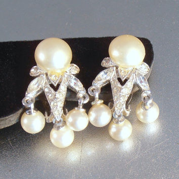 Panetta Rhinestone Earrings, Faux Pearl Dangle, Rhodium Plate, PAT. 2583938, Clip On, Bridal Wedding Jewelry
