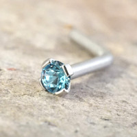 18g or 20g Tiny Light Aqua Blue Crystal L Bend Nose Bone Stud
