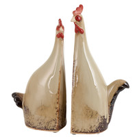 Carbonized Ceramic Rooster With True Colors - Set Of 2