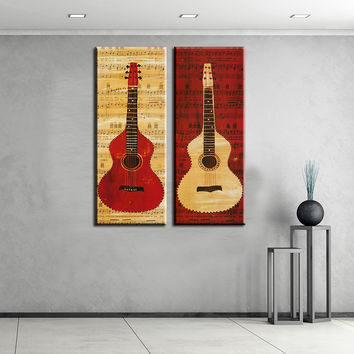 2 piece music studio room guitar top decorative wall paintings for home decor idea oil painting art print on canvas No Framed