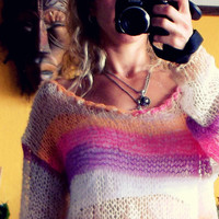 Hand Knitted Mohair Blouse Oversized Knit Striped Tunic  Women's Knit Sweater Off the Shoulder Top Fall Clothing Indie Sweater Hippie Boho