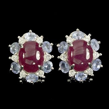 14K White Gold Oval Cut Red Ruby & Tanzanite Halo Earrings