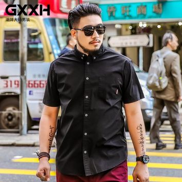 Oversize Men GXXH Plus Size Mens Shirts Brand Fashion Spring Summer Men Shirt Short Sleeve Casual Male Big and Tall Black Shirt