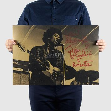 Free shipping,Jimi Hendrix/MUSIC ROCK BAND/kraft paper/bar poster/Wall stickers/Retro Poster/decorative painting 51x35.5cm