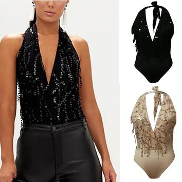 Sexy Women's Fashion Sequins Backless Halter Bandage  V Neck Jumpsuit