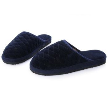 Lover Men Shoes Knit Plaid Cotton Plush Indoor Slippers New Casual Couple Home House F